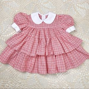"""Vintage red plaid ruffle party dress 17"""""""
